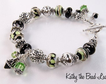 SALE****Lampwork Bracelet - Boro Black and Green Lampwork Bali Silver Bead Bracelet - KTBL