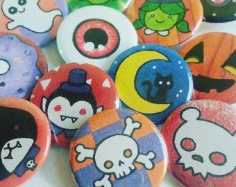 Random Geeky Halloween Cute Pinback Button -  Set of Three