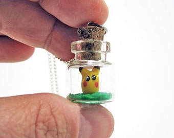 I Choose You Pikachu Tiny Pokemon Bottle Necklace