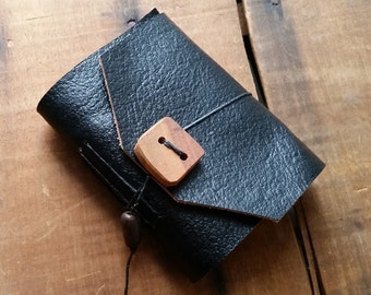 Black Leather, wood button,Small Handbound Leather Journal Book