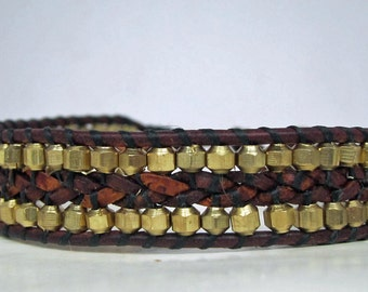 "Braided Leather Wrap bracelet with faceted gold metal beads - 7""-8"""