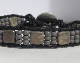 "Black Leather Wrap Beaded Wrap Bracelet with Gray Beads - 6"" to 7 1/4"""