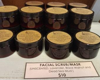 Facial Scrub and Mask (Dead Sea Mud, Lavender Citrus, Black Walnut, Lavender)