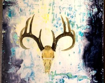 original encaustic painting-   skull
