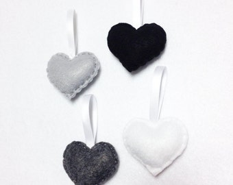 Felt Ornament Set - Grayscale Sprinkle Hearts - Holiday Decoration