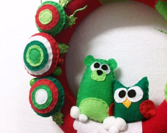 Wreath, Christmas Wreath, Door hanger, Holly Jolly, Bear, Owl, Winter Animals, Forest Animals, Housewarming