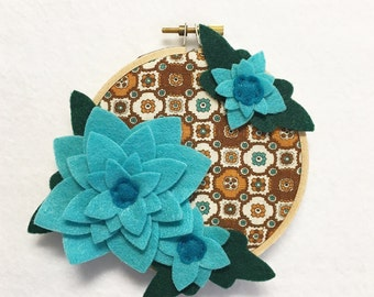 Fabric Wall Art, Embroidery Hoop Art, Vintage Teal, Wedding Decor, Floral Wall Decor, Hoop Wall Hanging, Felt Flower Hoop