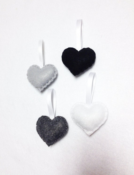 Heart Ornament, Felt Ornament Set - Shades of Grey, Grayscale Sprinkle Hearts - Holiday Decoration