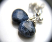 Blue Post Earrings . Small Teardrop Earrings . Blue Gemstone Earrings . Sodalite Earrings . Dark Blue Drop Earrings - Cascada Collection