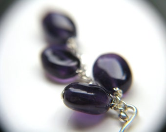 Natural Amethyst Cluster Earrings . Purple Dangle Earrings . Deep Purple Gemstone Earrings - English Garden Collection NEW