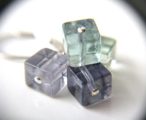 Fluorite Cluster Earrings . Cube Earrings . Sterling Silver Leverback Earrings . Natural Gemstone Cluster Earrings - Chakra Collection