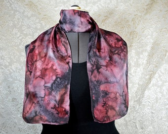 Hand dyed silk scarf, rectangular, in red, grey and black
