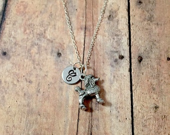 Poodle initial necklace - poodle jewelry, dog breed necklace, standard poodle necklace, dog initial necklace, silver poodle necklace