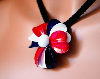 Red White and Blue  enameled Necklace ,18 inch Black Braided cord, Vintage Up Scaled Jewelry made New