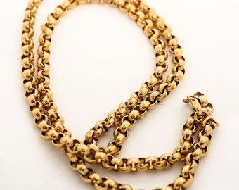 Vintage Monet 30 inch Chain, Long necklace, Gold Tone Link Chain