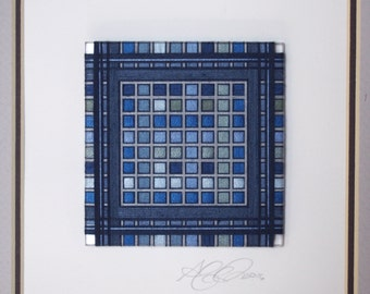 Framed Thread Wrapping with Deep Blue in a Black Craftsman style Frame with Double Matte and Quilt Block Pattern
