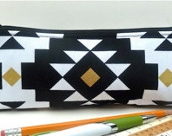Black White Gold Pencil Pouch Makeup Brush Slim Zipper Pouch Eco Friendly