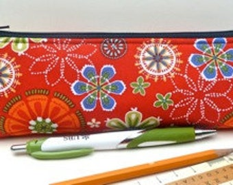 Slim Makeup Pouch Pencil Pouch Brush Bag Zipper Pouch Eco Friendly Floral