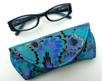 Peacock - Eyeglass Case - Sunglass Case - Magnetic Clasp - Gift for Mom - Gift for Readers - Gifts Under 15
