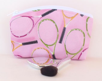 Makeup Bag - Zippered Pouch - Cosmetic Bag - Ditty Bag - Tennis - Pink - Team Gifts - Tennis Gifts - Round Top - Flat Bottom