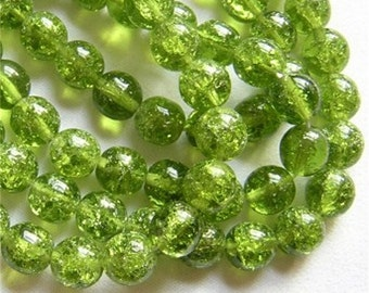 LAST 28 Czech Crackle Glass Beads Pretty PERIDOT GREEN 8mm