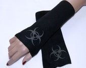 LAST CHANCE CLOSEOUT Glow in the Dark Biohazard Black Fleece Arm Warmers MTCoffinz - Ready to Ship