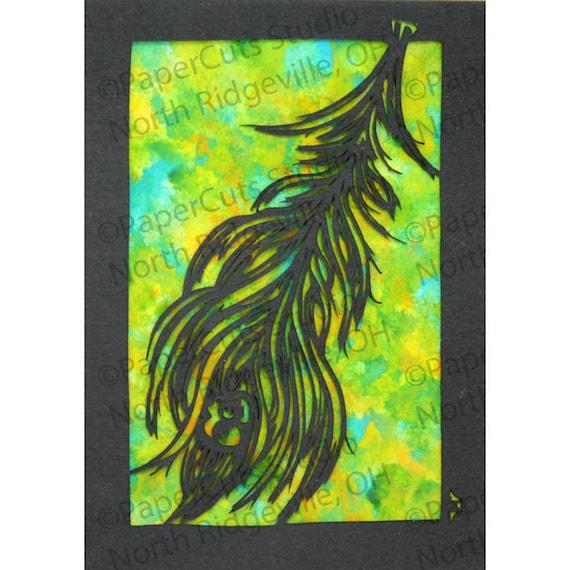 Peacock feather Papercut ACEO, Handcut Original, Watercolor *FINAL EDITION*