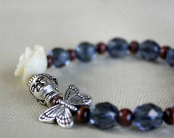 Beaded Bracelet, Buddha Butterfly Bracelet, Stretch, Wood, Flower Bracelet, Gift For Her, Gift For Girlfriend, Modern, Meditation