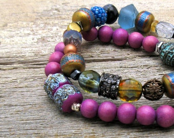 Bohochic Tribal Beaded Bracelet Set, Bright Blue and Fuchsia Gypsy by cooljewelrydesign, Boho Textured, For Her Under 250