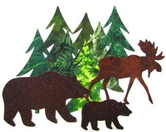 Diecut NORTHWOODS SET, diy,  evergreens, bears, moose, assorted, appliques, TEMPORARILY Fused 100% premium cotton, forest, Precision die cut