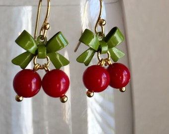 Cherry 14k Gold Plated Earrings