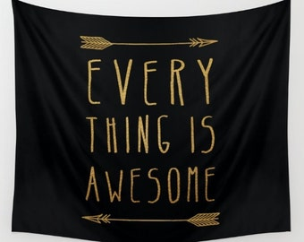 wall tapestry- black and gold- modern quote wall art- wall decor- inspiring quote- home decor