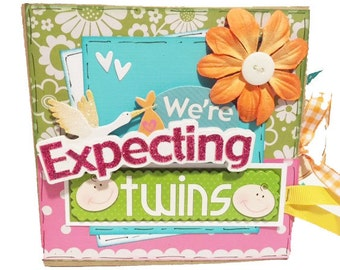 We're Expecting Twins Srapbook - Twins Pregnancy Scrapbook - Paper Bag Album - Twins Memory Book - Twins Mini Scrapbook