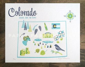 Colorado State Letterpress Print 8x10
