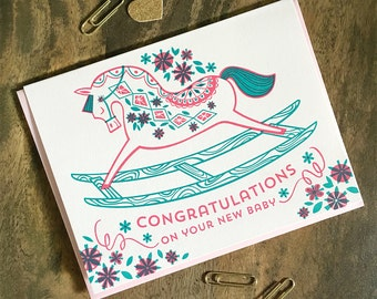 Pink Rocking Horse Letterpress Printed Card