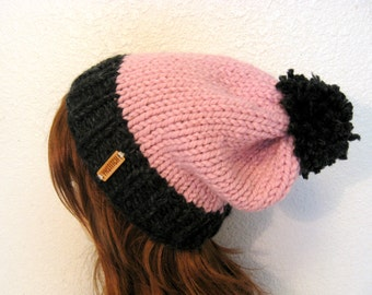 Slouchy Knit Hat with Pom Pom / VAIL / Blossom and Charcoal