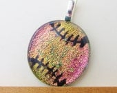 Baseball Necklace Pendant - Petite Softball Necklace Pendant - Dichroic Fused Glass - Gold/Pink - Free Shipping