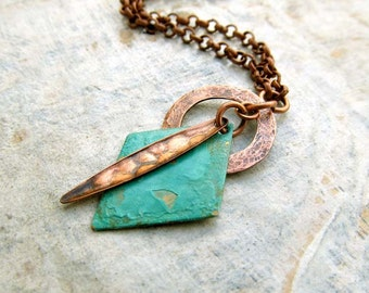 Geometric necklace copper turquoise patina necklace Gift for her Southwest Bohemian jewelry