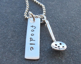 Foodie Sterling Silver Necklace Ladle Charm Food Lover Hand Stamped Personalized Jewelry Gift for Chef Cook Ready to ship