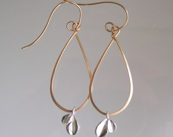 Gold Filled Teardrop Hoops, Sterling Petal Charm Dangles, Mixed Metal, Hand Wrought Earrings, Lightweight, Everyday, Made to Order