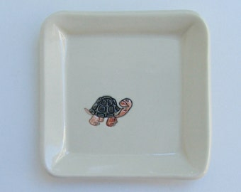Square Ceramic Plate / Coaster, Hand Built Handpainted, Turtle