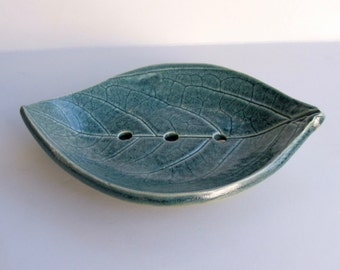 Ceramic Soap Dish, Footed Persimmon Leaf, Hand Built
