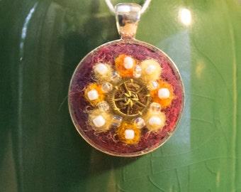 OOAK Needle Felted Kaleidoscope Pendant - Autumn