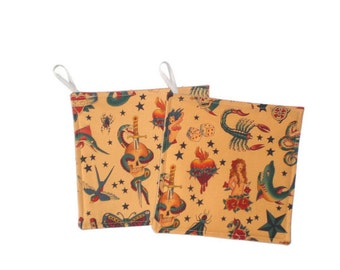 Sailor Jerry Style Tattoo Pot Holders Kitchen Home Decor Set of 2
