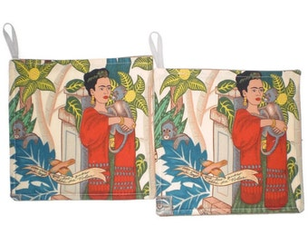 Frida Mexican Art Pot Holders Set of 2 Kitchen Home Decor