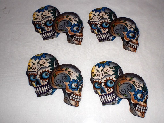 CUSTOM ORDER For William Stabile only-Mexican Art Sugar Skulls Iron on Patch Applique DIY No Sew