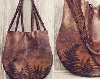 Woodland Fern Leather Bag by Stacy Leigh