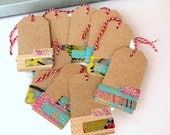 10 sewn handmade paper scrap gift tags, stitched brown kraft gift tag set, bakers twine gift tags, stitched boho urban blank kraft hang tags