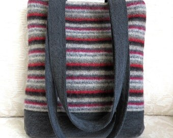 JAMES Handbag in Striped Sweater Wool and Denim, Repurposed, Upcycled Purse