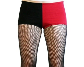 Black and Red Cotton Harley Quinn Booty Shorts XS S M L XL 2XL hot pants cosplay costume short low rise spandex